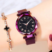 Hot Sale Starry Sky Watch Womens Luxury Magnetic Quartz Wristwatch Geometric Surface Female Luminous Watches relogio feminino
