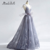 modabelle Gray Backless Long Prom Dresses Woman Sheer Straps Embroidery Lace Christmas Evening Party Dress 2018 New Year