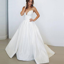 Bbonlinedress A-Line Satin Wedding Dresses Sexy V Neck Bridal Gowns Spaghetti Straps Lace 2019