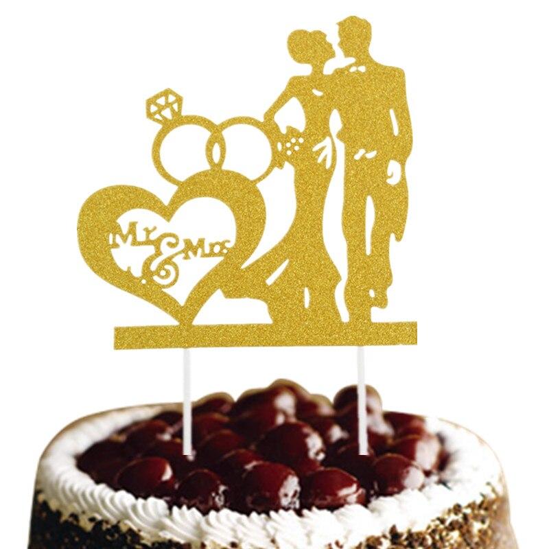 Glittler Bride Groom Wedding Cake Topper Mr & Mrs Cake Flags Wedding Engagement Party Cake Baking Decor Wedding Cake Flags