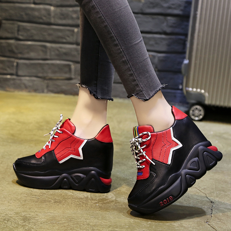 Kjstyrka 2018 Zapatillas Mujer summer autumn Casual mixed color women sneakers fashion increasing ladies wedges platform shoes 3