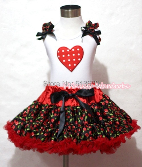 VALENTINE Red Cherry Pettiskirt Skirt White Pettitop Top MINNIE HEART Ruffle Girl Set 1-8Y MAPSA0234 white valentine браслет