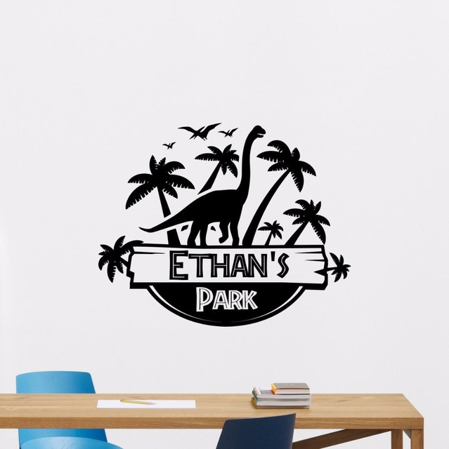 custom made art personalized name wall decal cool dinosaur wall