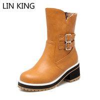 LIN KING Women Winter Snow Boots Low Square Heel Woman S Martin Boots Zip Patent Leather