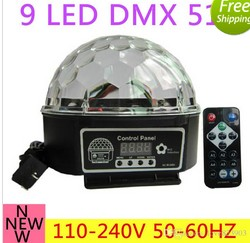 New High quality 110-220v 9 color LED DMX 512 Stage Lights Crystal Magic Ball Lighting Effect Light For Bar, Party, Nightclub