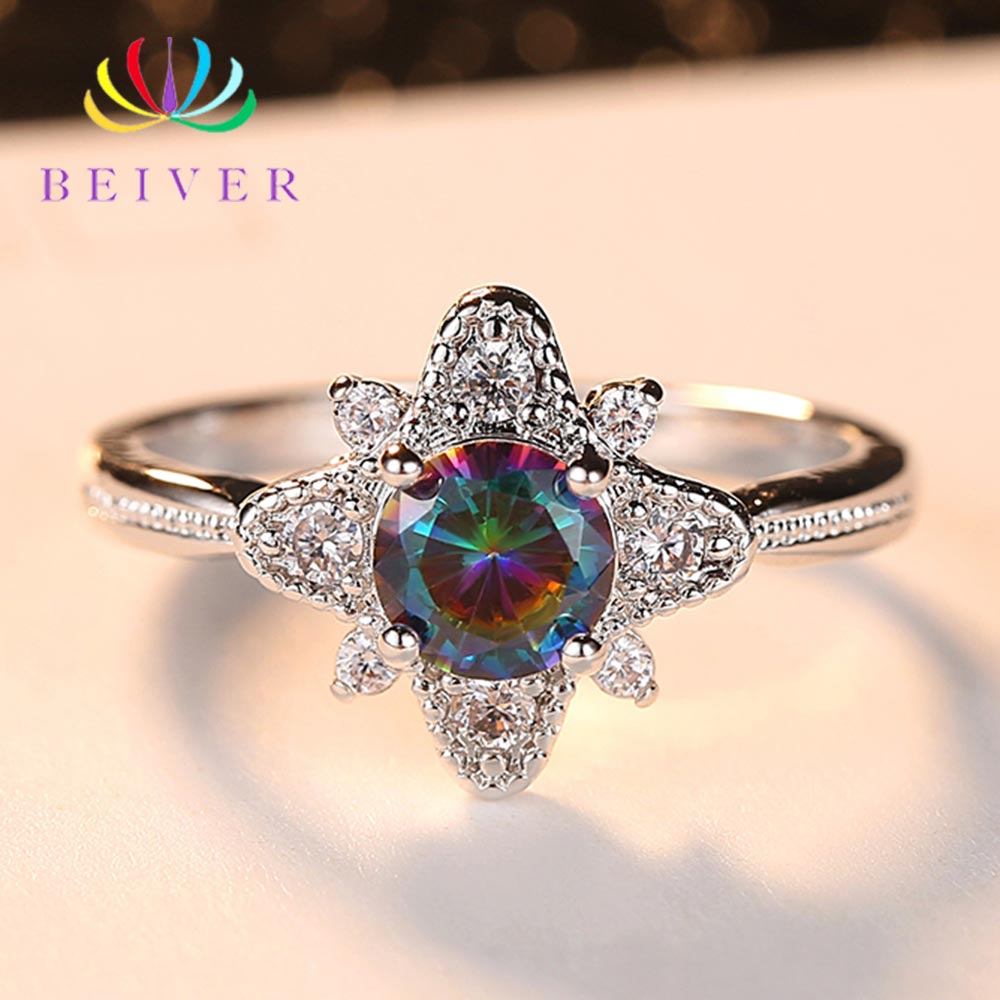Beiver 2019 New Designed White Gold Color Rainbow Round Zircon Promise Wedding Flower Rings for Women Party Jewelry Ladies Gifts