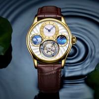 Новые роскошные для мужчин часы Механические тourbillon наручные Марка Топ человек Moon Phase светящийся сапфир зеркало 30ATM мужской,