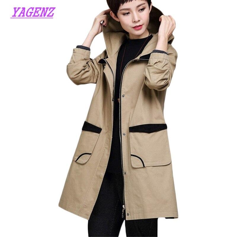 New Autumn Women Loose Long Windbreaker coat Female Plus size Trench Coats
