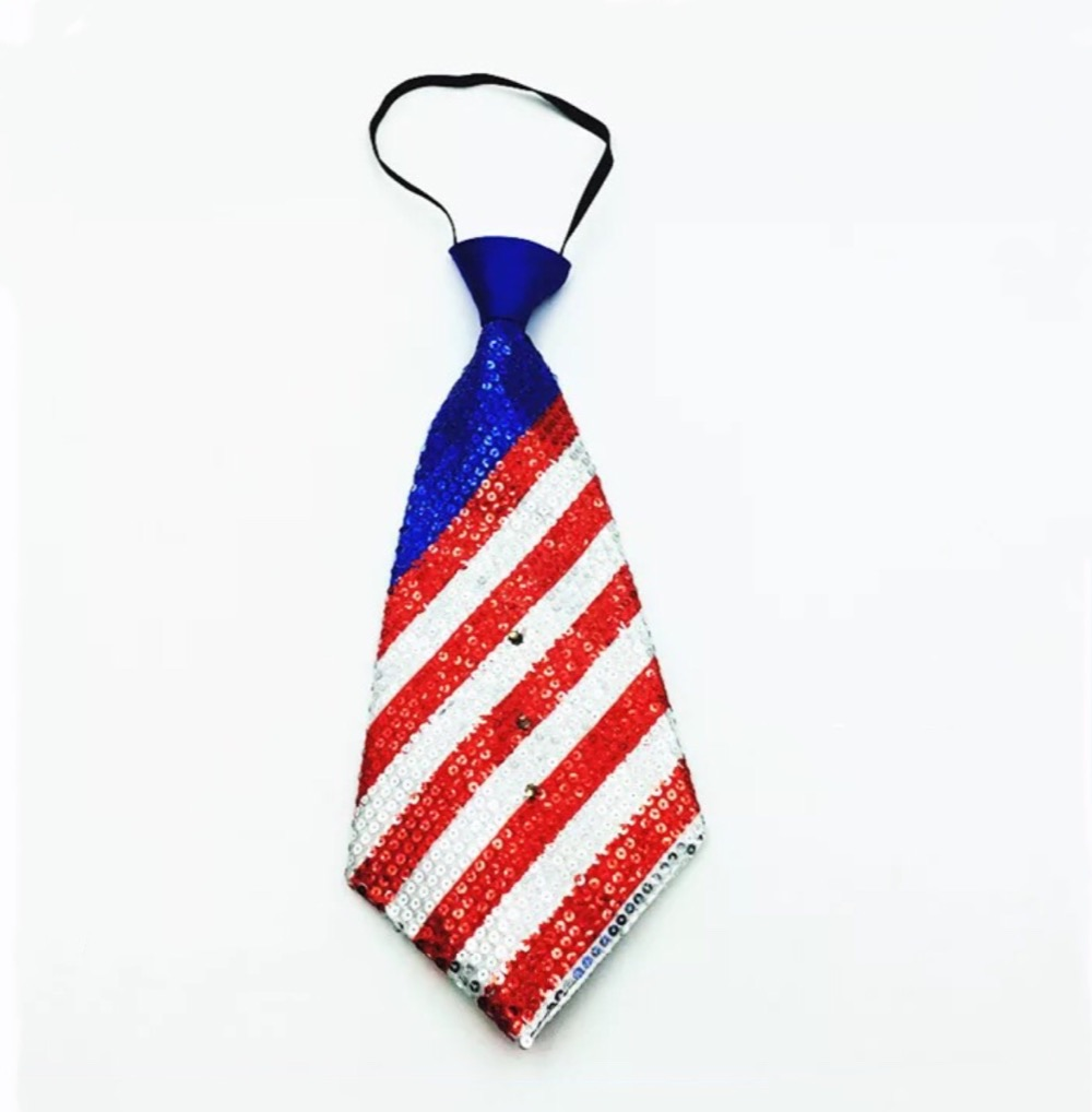 National Day Kids Universal Striped Sequin LED Tie Dance