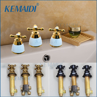 KEMAIDI Good Quality Hot And Cold Water Control Valve 3 Sets For Faucet Bathroom Mixer Valve Tap Handle Bathroom Accessaries
