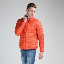 7XL Новая мужская зимняя куртка ультра легкая 90% белая куртка на утином пуху Повседневная портативная зимняя куртка мужская плюс размер пуховик 7 цветов