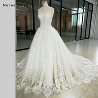 Luxury Ivory Ball Gown V Neckline Beaded Lace Wedding Dresses 2018 Women Formal Church Embroidery Bridal Gowns vestidos de noiva