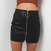 Donna Zipper Up Faux Leather Skirt Sexy A Vita Alta Gonne A Matita di Cuoio DELL'UNITÀ di elaborazione Fasciatura O Anello di Design Gonna Nera