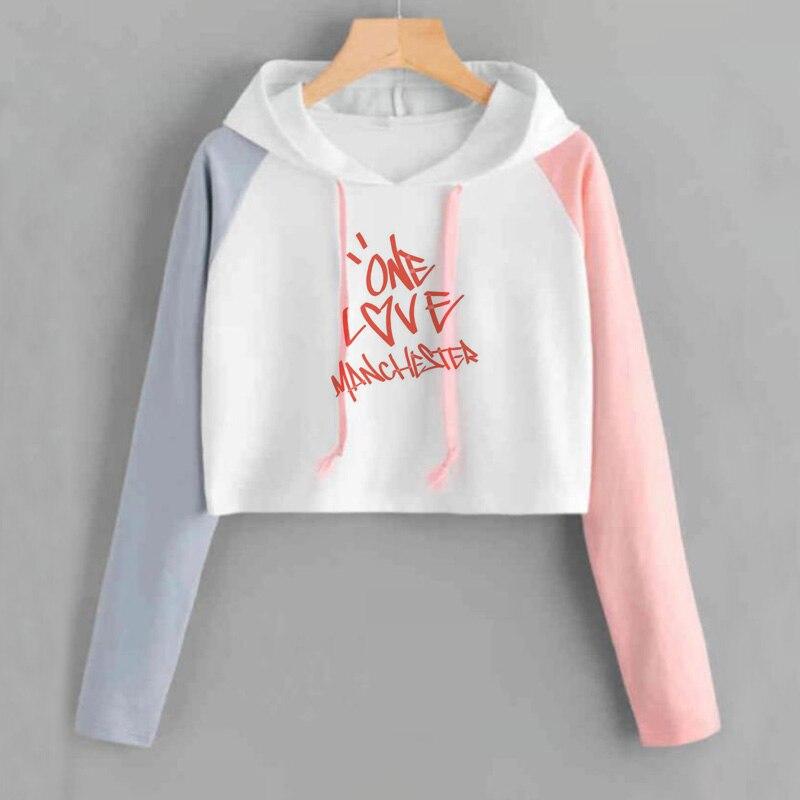 Ariana Grande Crop Hoodie Women Sweetener Printed Cropped Hoodies Long Sleeve Pullover Crewneck Women's Sweatshots Cropped