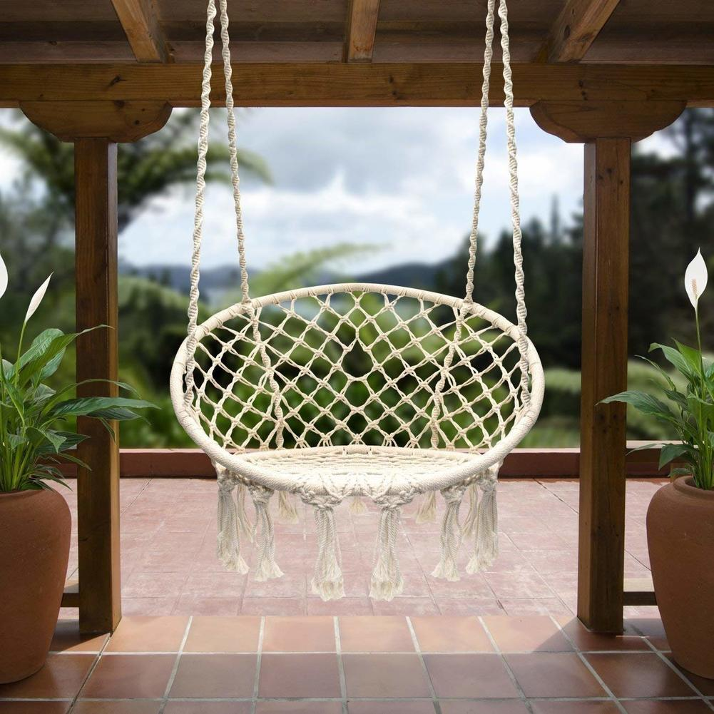 Hanging Outdoor Hammock Chair Macrame Swing 265 Pound Capacity Perfect for Indoor Outdoor Home Garden Hanging Chair