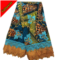 Nigeria Textiles High Quality Hollandais With Lace Sewing African Wax Lace Fabric 6yards/lot for dress LSL