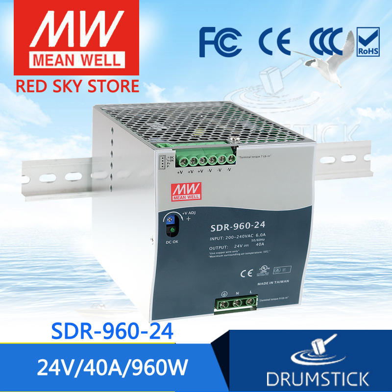 best-selling MEAN WELL SDR-960-24 24V 40A meanwell SDR-960 24V 960W Single Output Industrial DIN RAIL with PFC Function [Real1] original mean well drt 960 24 960w 40a 24v three phase industrial din rail meanwell power supply drt 960