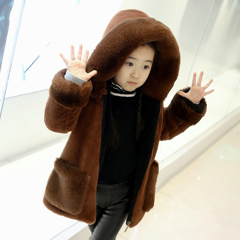 JKP winter clothing children's clothing girls imitation fur coat children's long thick plus cashmere female baby coat FPC-58