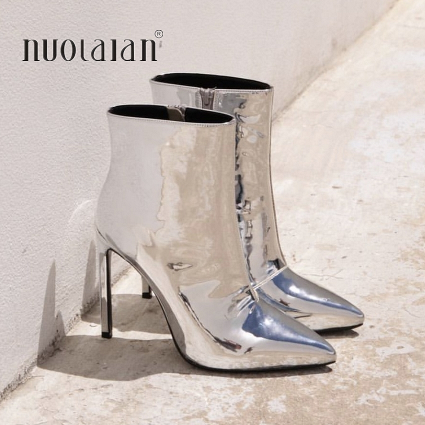590be27f5e8 Mouse over to zoom in. 2018 spring and autumn women boots gold silver sexy  high heels ankle boots shoes ...