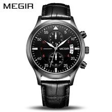 MEGIR Original Men Business Watch Top Brand Luxury Leather Army Military Watch Male Quartz Wrist Watches Relogio Masculino 2021