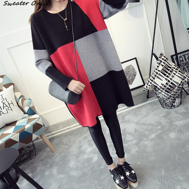 2016 NEW hot sale women's autumn winter long sleeve big yards knit sweater dresses woman college wind loose pullovers dress