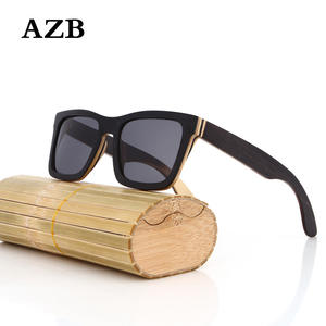 AZB Square Sunglasses Wood-Lens Frame Lunette-De-Soleil Retro Vintage Men Women Au Homme