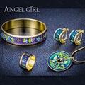 AngelGirl Старинные ювелирные изделия наборы Серии-Lotus Эмали экранированный высокий Позолоченный Кольцо и Серьги и Браслет & Ожерелье для Женщин 2016