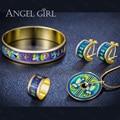 AngelGirl Do Vintage conjuntos de jóias de Moda Série-Lotus Esmalte blindado alta Banhado A Ouro Anel & Brinco & Bangle & Colar para As Mulheres 2016