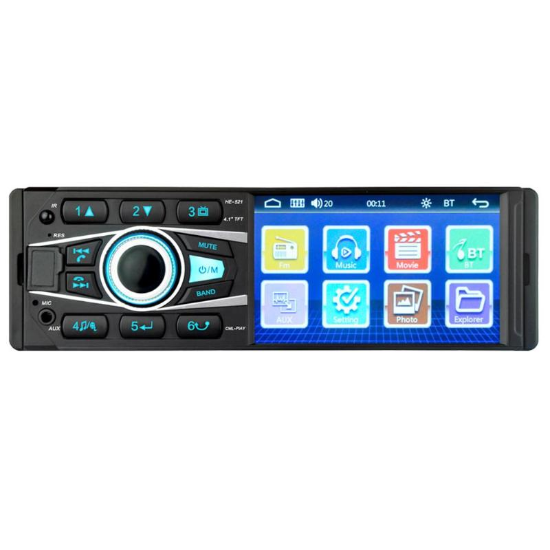 4.1 pouce unique DIN Bluetooth voiture stéréo mains libres appel USB AUX entrée Radio dans le tableau de bord unité de tête écran tactile Bluetooth + micro