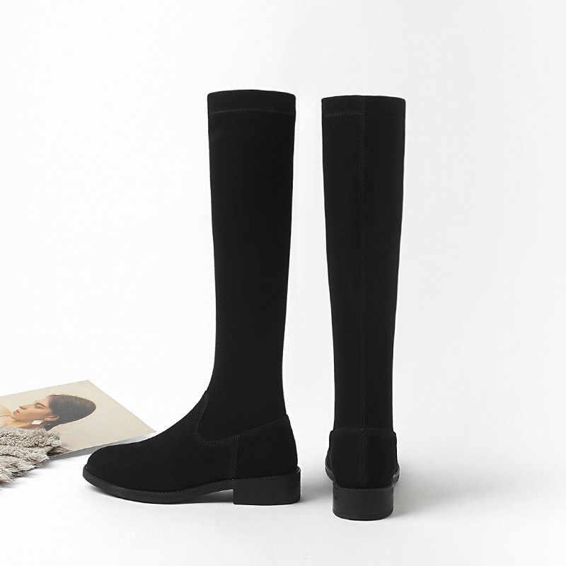 2019 mode femme hiver cuissardes bottes daim cuir solide femmes genou-haut