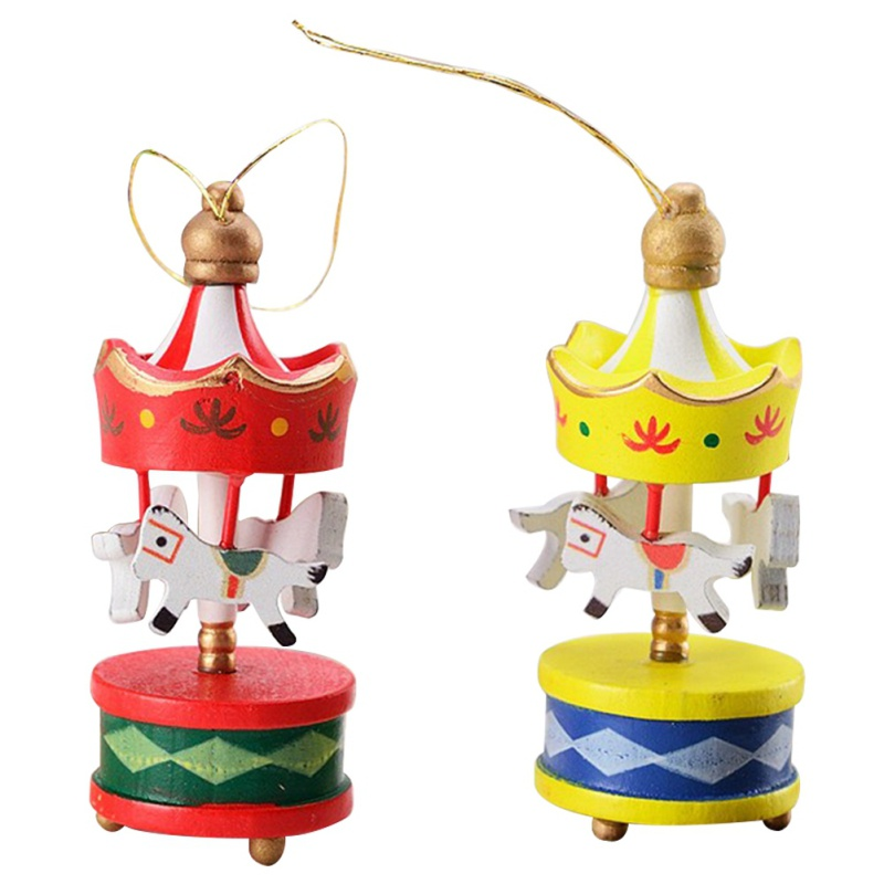 2018 Hanging Christmas Tree Ornaments Beautiful Wooden Carousel Lovely Christmas Decorations on Tree Best Gifts 6 pcs/lot ...