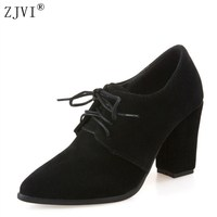 ZJVI woman pointed toe Thick high heels pumps 2018 women spring autumn lace up shoes ladies women's female nubuck casual pump