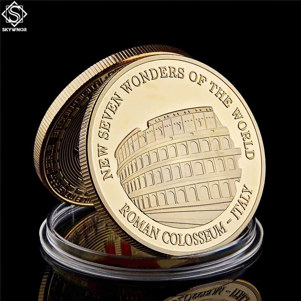 Gold Plated Coin Ancient Italy Roman Colosseum 2017 New Seven Wonders of The World Medallion