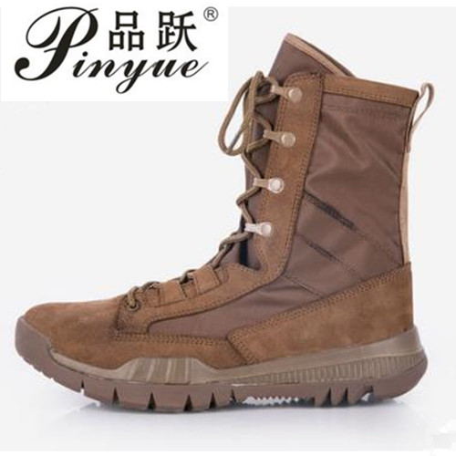 Spring Autumn High Tube Leather Breathable Military Tactical Boots Outdoor Training Climbing Hunting Jungle Desert Combat Shoes