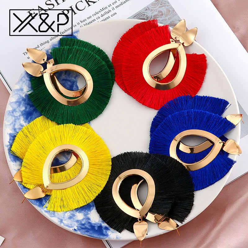 X&P Fashion Bohemian Big Tassel Earrings for Women 2019 Trendy Statement Large Fringe Drop Dangle Earring Za Pendientes Jewelry