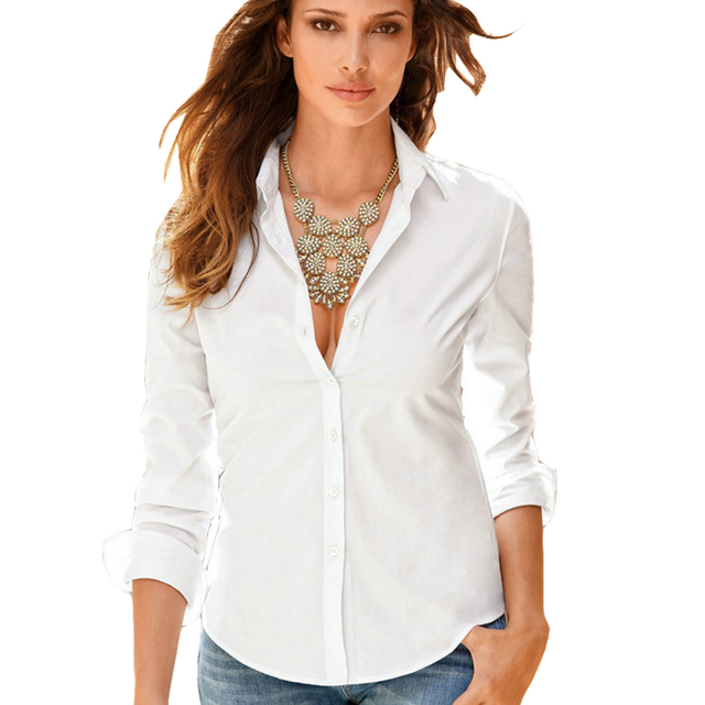 f9e895351f67b Women's long sleeve single breasted button-down shirts classical solid  color office lady business blouses shirt