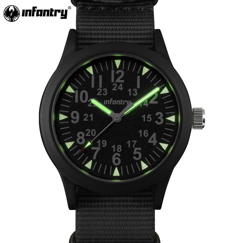 купить INFANTRY Military Watch Men Glow in Dark Mens Watches Top Brand Luxury Wristwatch Army Sport Nylon nato Strap relogio masculino по цене 1103.6 рублей