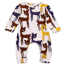 1PC gOD QUALITY AUTUMN Adorable Sika Deer Baby Girls Clothes aNIMAL pRINT Long Sleeve Jumpsuit Romper Outfits Casual pLAYSUIT