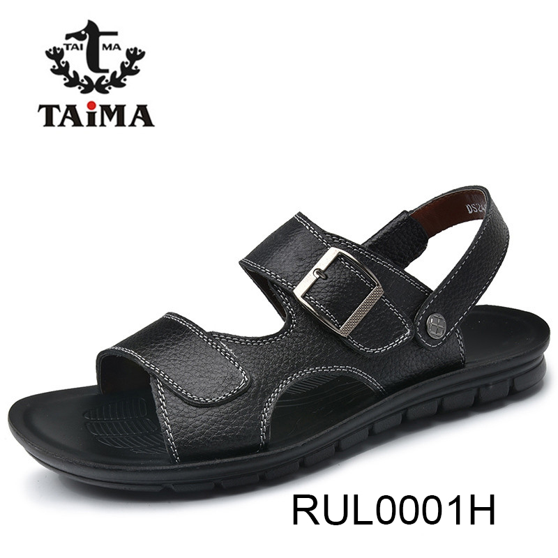 Summer Fashion Men Sandals Shoes Breathable Leather Men Casual Shoes Beach Slippers Men Big Size Brand TAIMA#RUL0001#RUL0002 summer men sandals han edition leather sandals beach shoes slippers male fashion casual shoes men s shoes leather sandals