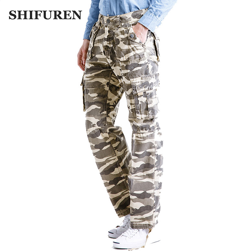 SHIFUREN Men Camouflage Cargo Pants Multi Pocket Male Causa Trousers Military Overall Cotton Baggy Work Pants Plus Size 29-40