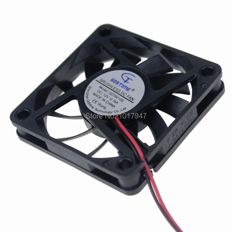 100Pieces lot 6010S 2Pin 60MM 60*60*10mm DC Mini Brushless Computer 12v Cooling Fan