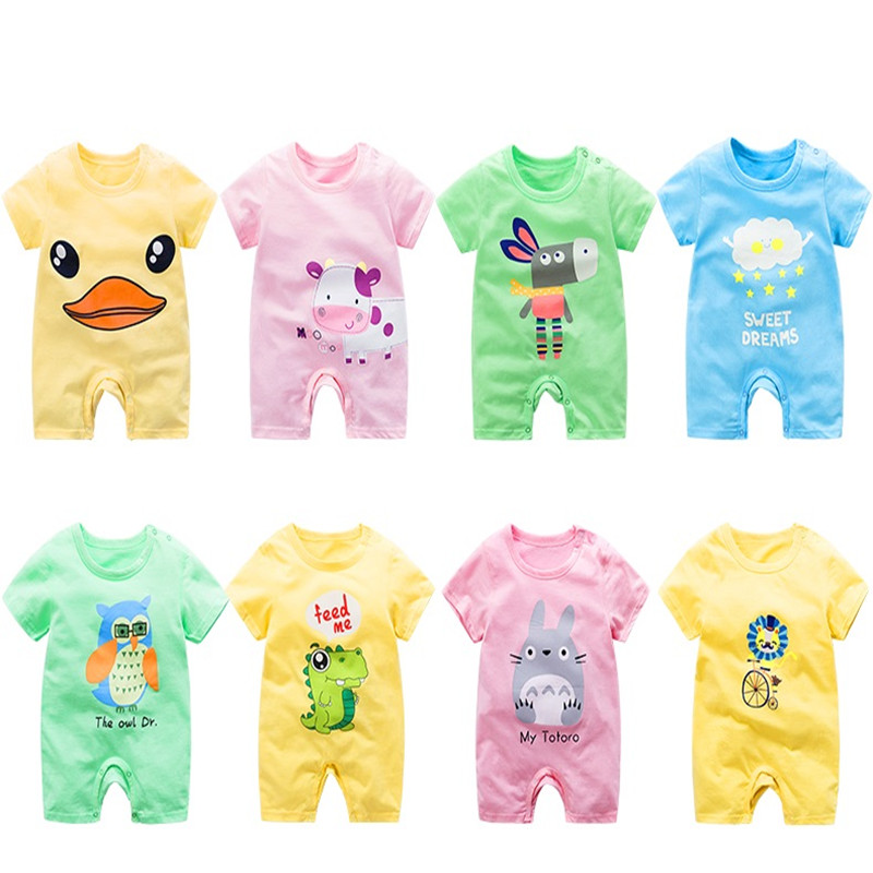 Baby Clothes Cotton Summer Newborn Baby   Rompers   Short Sleeve Toddler Infant Jumpsuits Cartoon Printed Baby Boy Girl   Romper