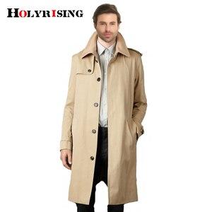 Image 1 - Holyrising Masculino מזדמן גברים מעיל גשם מעייל הדק ארוך מעייל כפתור אחת גודל נוח S 9XL שובר רוח 18360 5
