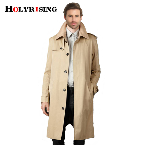 Holyrising Trench Coat Men Casual Masculino Overcoat Slim Long Greatcoat Single Button Windbreak Comfortable Size S-9XL 18360-5 Pakistan