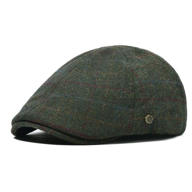a3dddf41 VOBOOM Woolen Flat Cap Men Spring Autumn Fall Ivy Caps Plaid Green Beret  Man Elastic Back