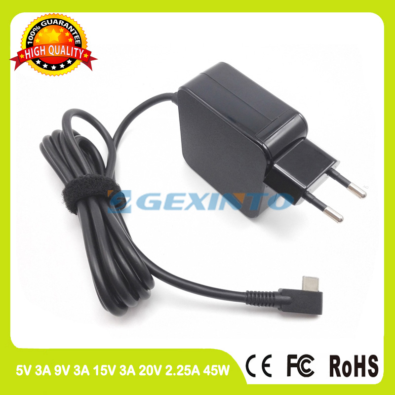 45W ac adapter 20V 2.25A Laptop Charger For Asus ZenBook 3 UX390 UX390U UX390UA UX370 UX370U UX370UA Q325 Q325UA Type C EU plug цена