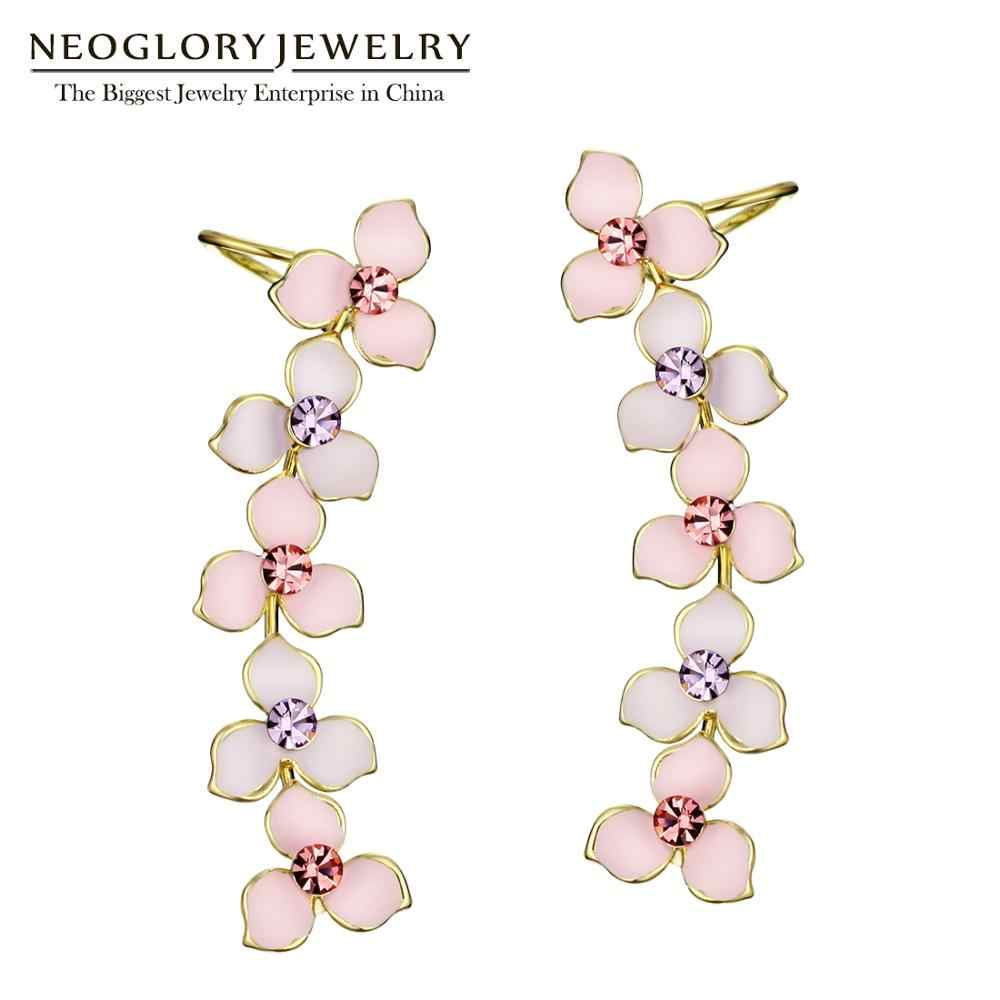 Neoglory Rhinestones Pink Light Yellow Gold Color Long Enamel Clip Earrings For Women Fashion Jewelry 2018 New MS