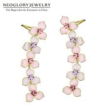 Neoglory Rhinestones Pink Light Yellow Gold Color Long Enamel Clip Earrings For Women Fashion Jewelry 2018 New MS(China)