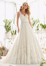 Bridal 2019 Fashion Deep V Neck A-line Wedding Dress Sleeveless Backless Lace Applique Sashes Floor-Length