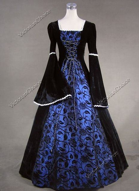 c0e0afc8c74a Medieval Dark Queen Renaissance Fair Wench Velvet Floral Brocade Ball Gown  Dress Reenactment Halloween Costume